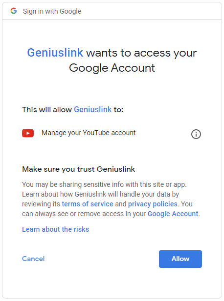 Image of google requesting permission for Geniuslink to access your google account.