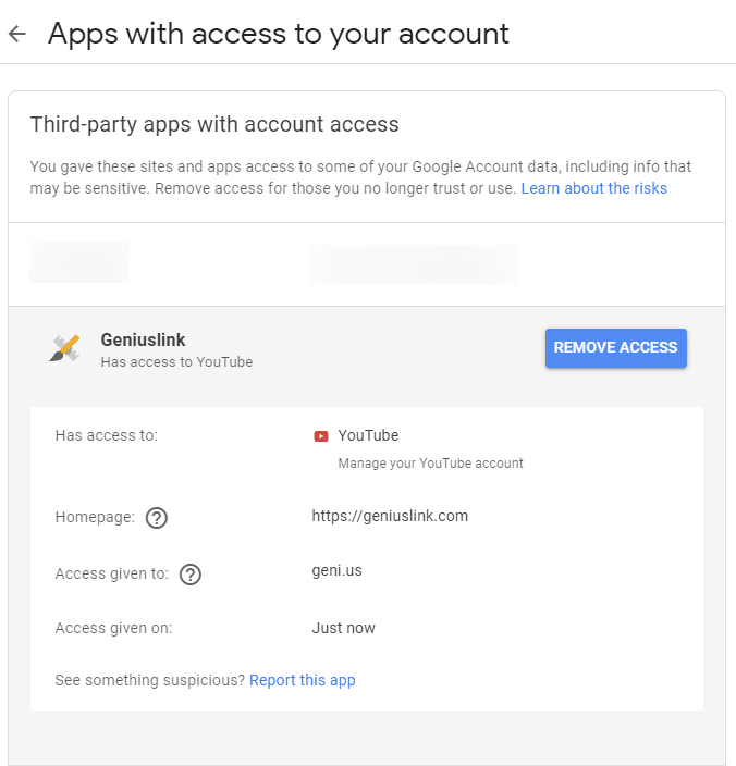 Apps with access to your account, showing Geniuslink has access